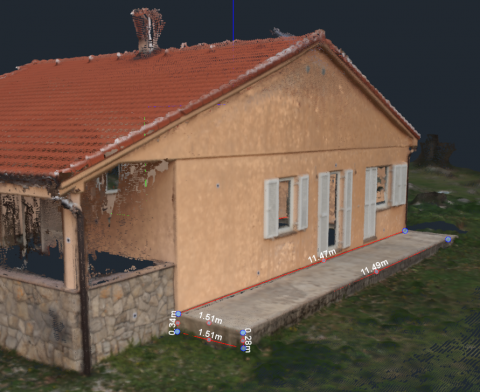 3D measurements performed on a point cloud