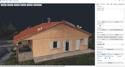 Roof angle measurement in 3D