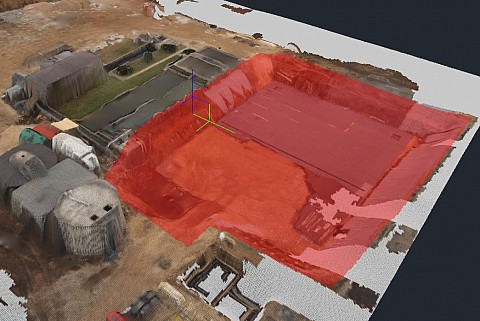 Land surveying for a wastewater treatment plant; material volume calculations